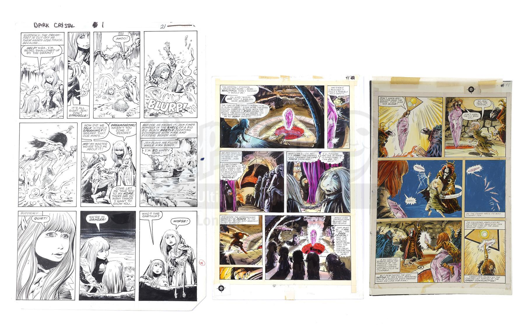 Lot # 602: THE DARK CRYSTAL - The Dark Crystal No. 1 Page 21 and No. 2 Pages 41 and 48 by Bret Blevi
