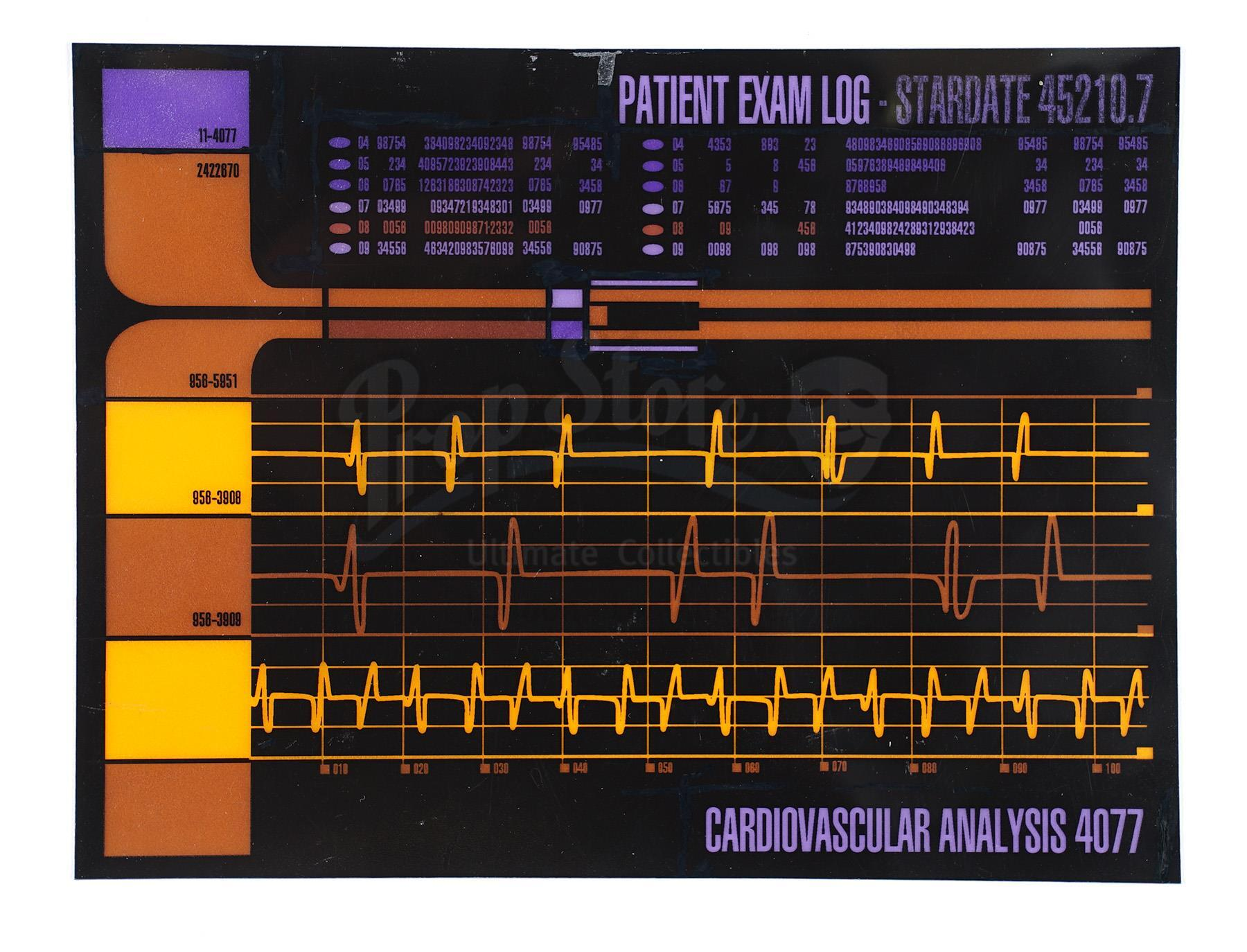 Lot # 1065: STAR TREK: THE NEXT GENERATION - Medical LCARS Panel of Jean-Luc Picard's (Patrick Stewa