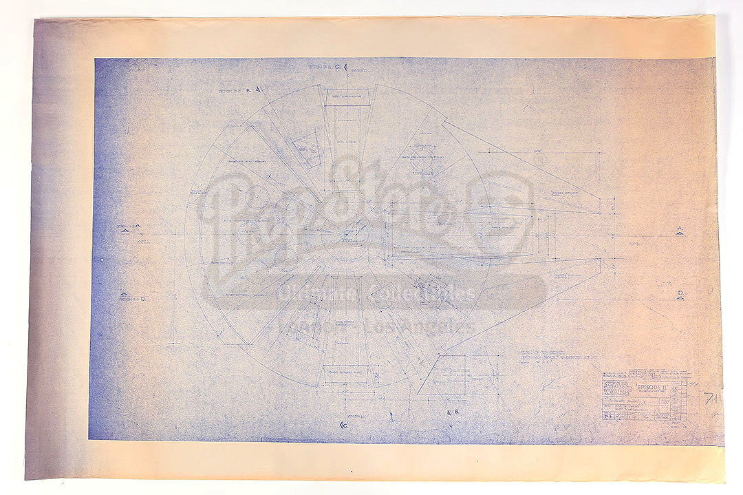 Lot # 298: STAR WARS - EP V - THE EMPIRE STRIKES BACK - Millennium Falcon Blueprint Copy