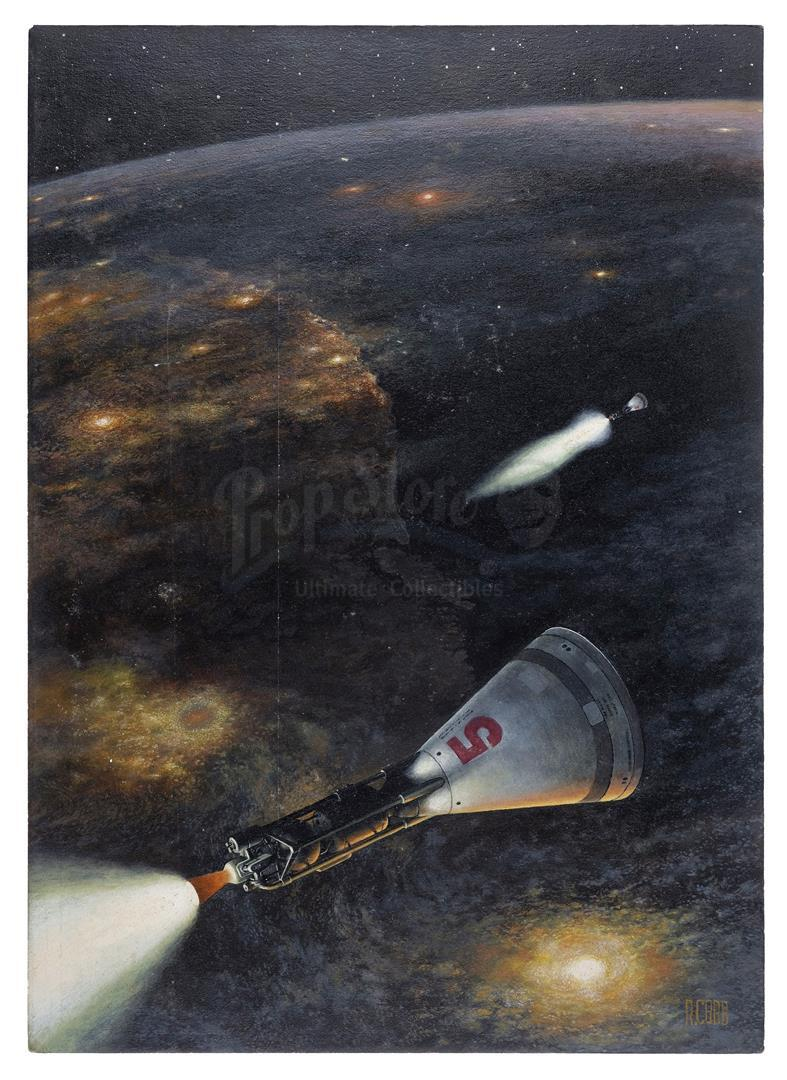 Lot # 1004: RON COBB ARTWORK - Hand-Painted Ron Cobb Space Capsules Illustration - Image 2 of 5
