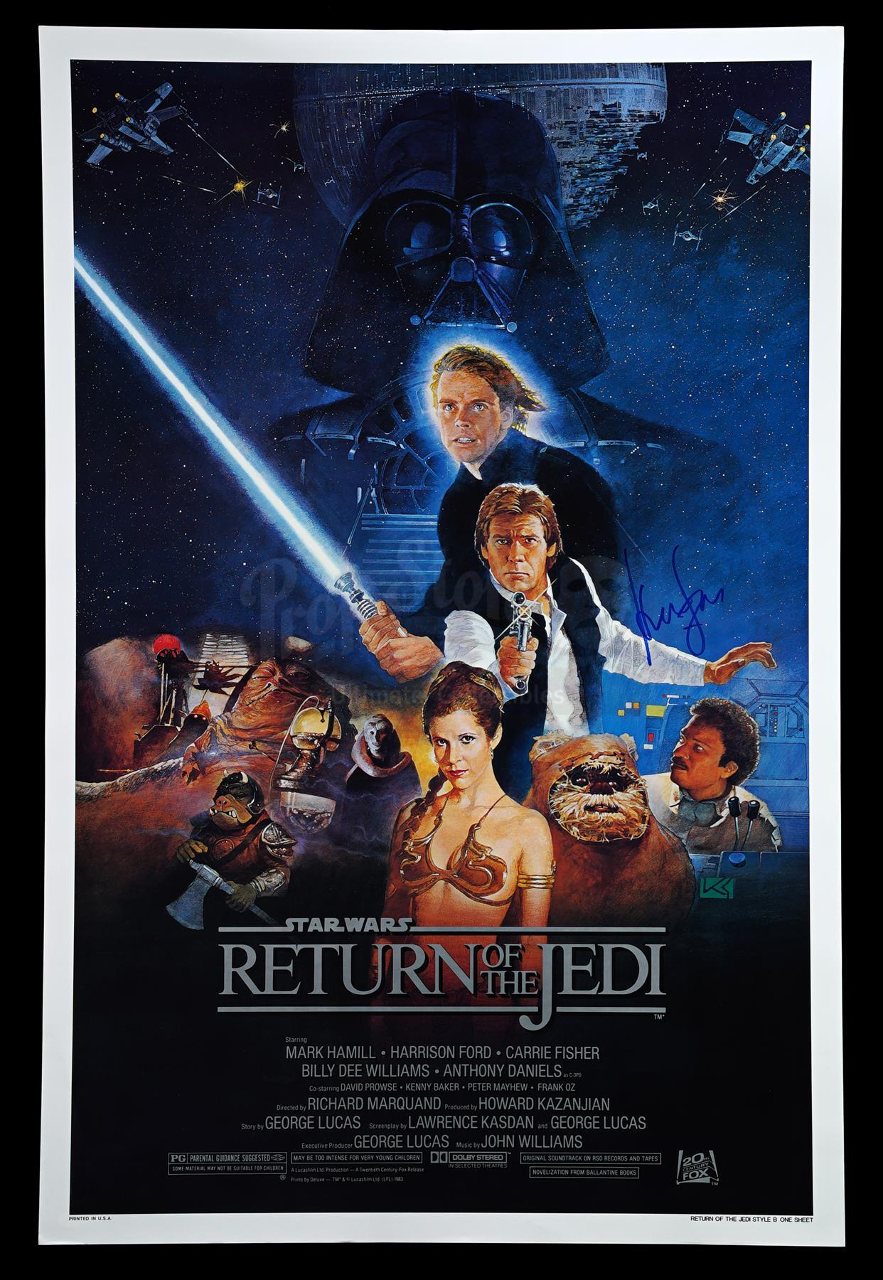 """Lot # 333: STAR WARS - EP VI - RETURN OF THE JEDI - Harrison Ford-Signed Rolled Style """"B"""" One-Sheet"""