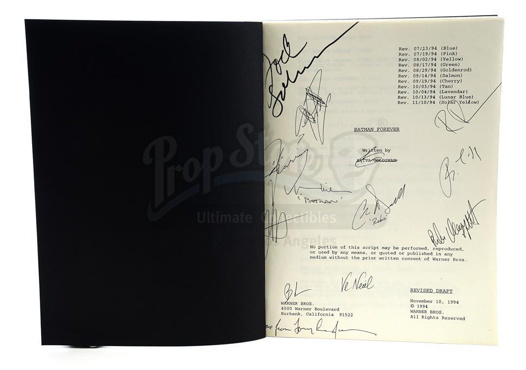 Lot # 513: BATMAN FOREVER - Autographed Revised Draft Script