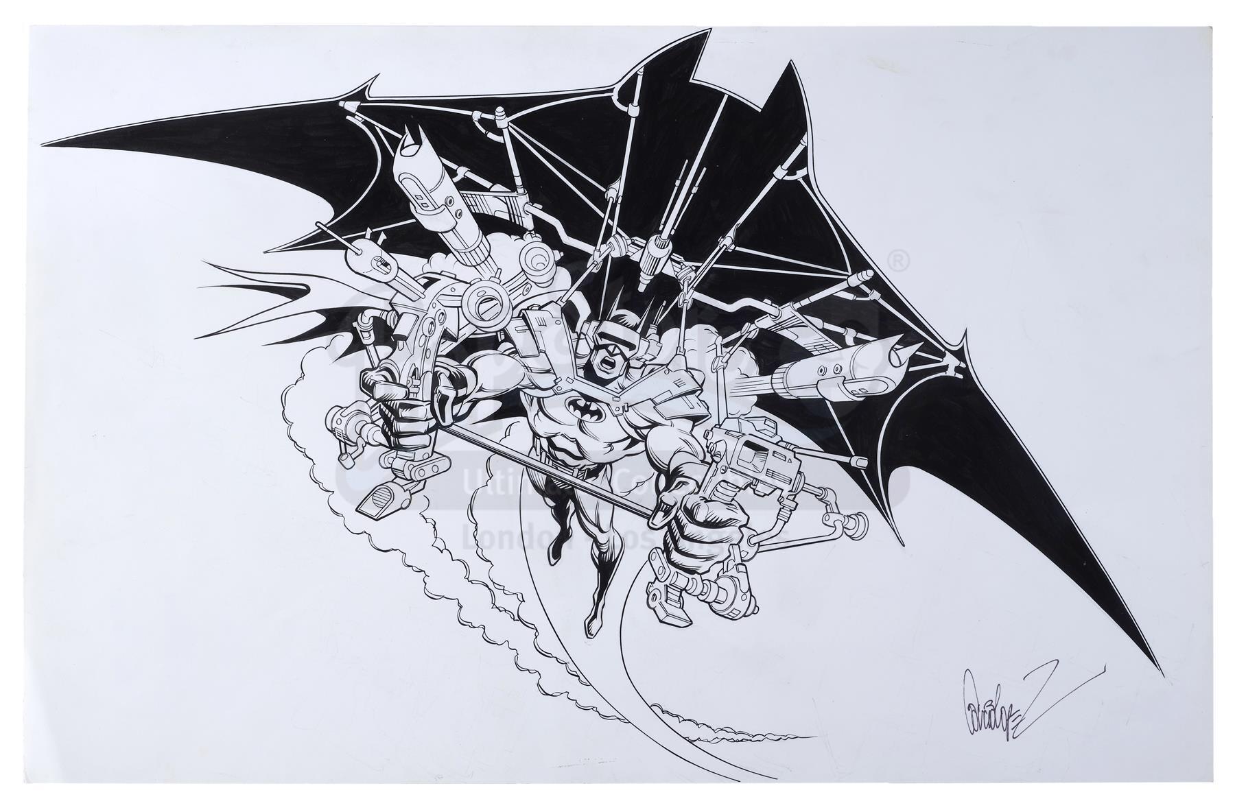 Lot # 514: B.A.T. - Hand-Drawn Jose Luis Garcia-Lopez-Signed Batglider Illustration
