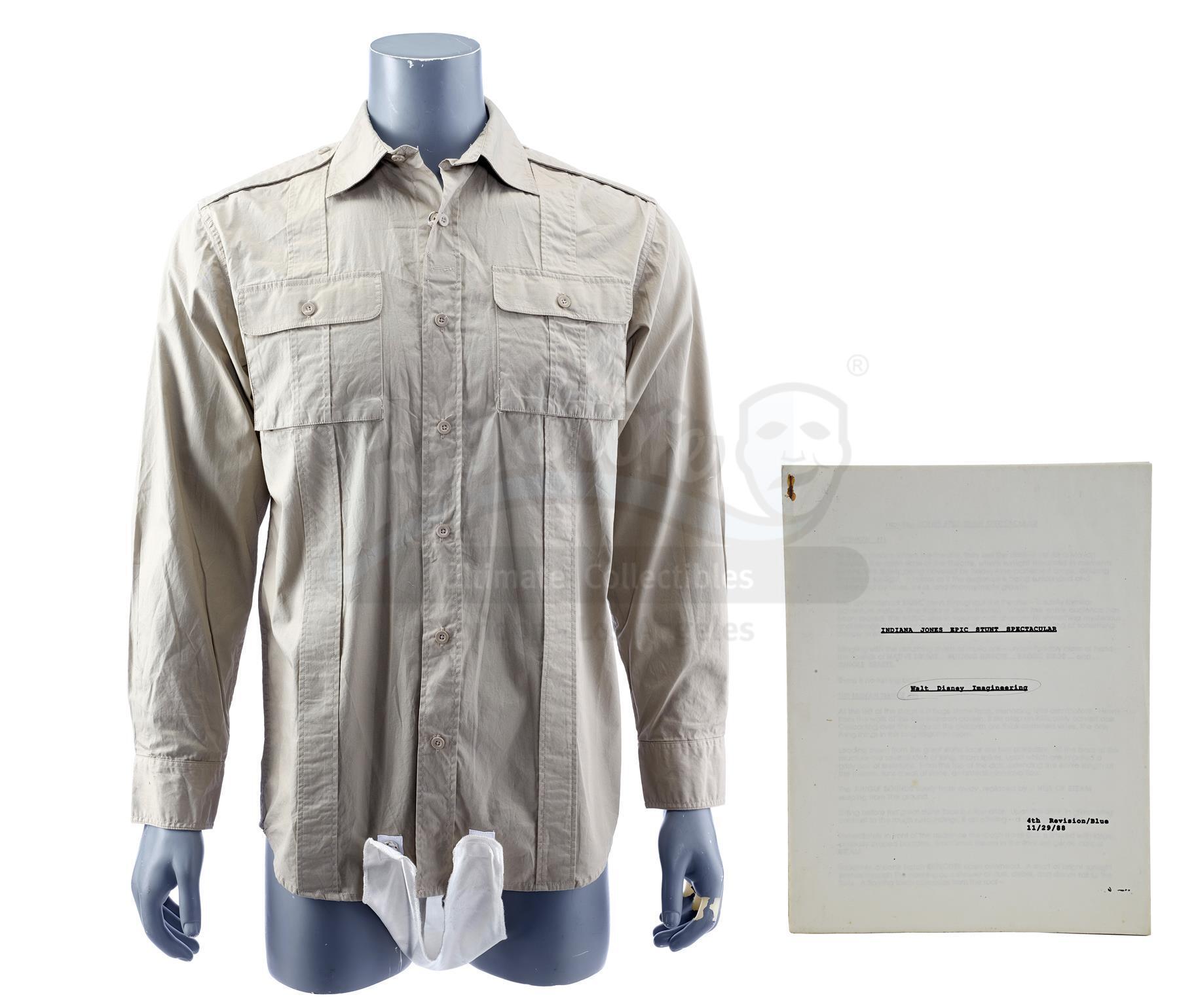 Lot # 785: INDIANA JONES EPIC STUNT SPECTACULAR! - Indiana Jones Shirt and Script