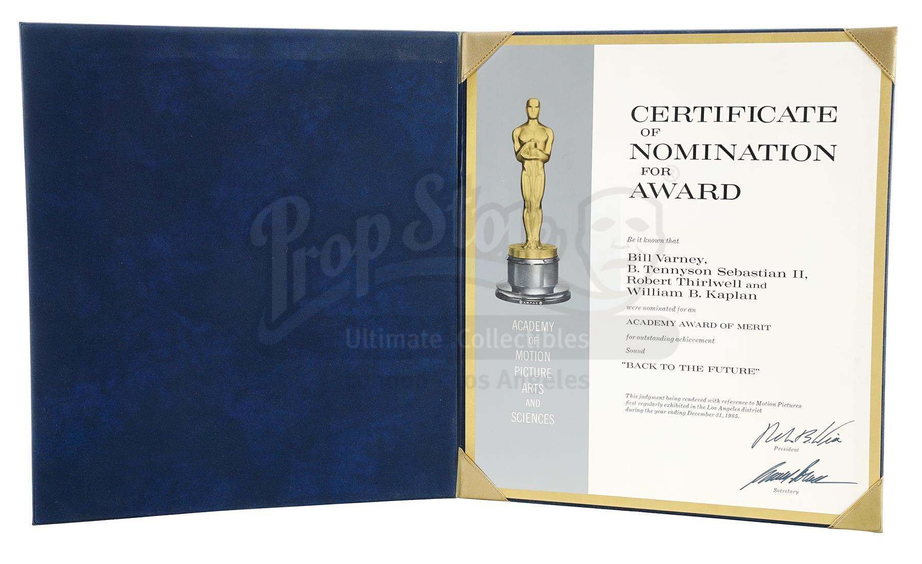 Lot # 488: BACK TO THE FUTURE - Academy Award Nomination Certificate