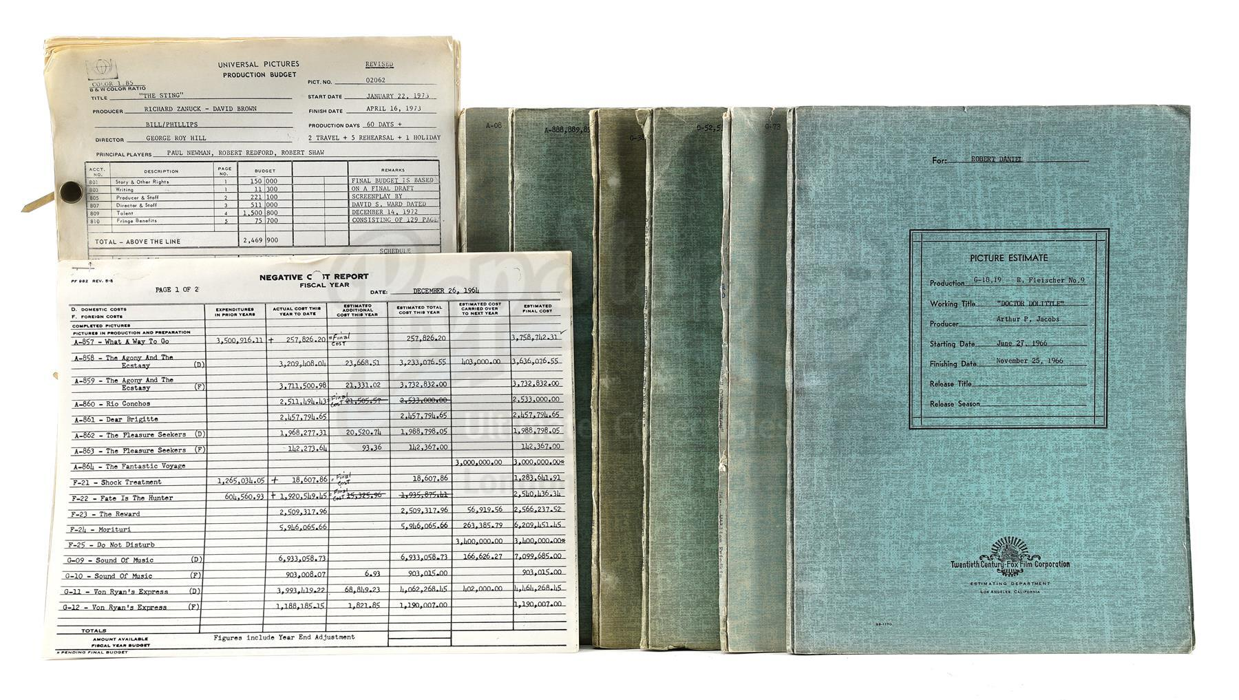Lot # 682: FORREST GUMP (1994) - Original 20th Century Fox Approval Budgets for Classic Titles Inclu