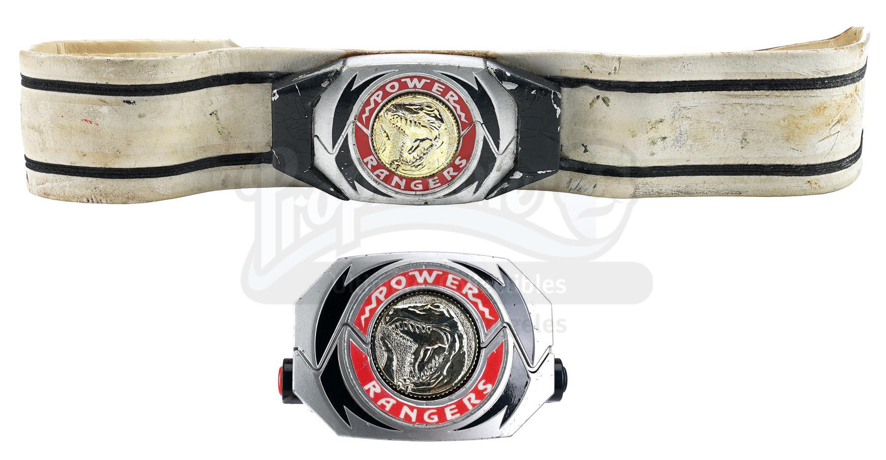 Lot # 885: MIGHTY MORPHIN' POWER RANGERS - Yuuta Mochizuki-Signed Red Ranger Belt with Two Morphers