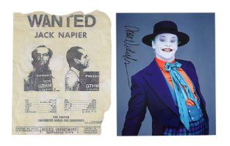 "BATMAN (1989) - Jack Nicholson-autographed Joker Photo and Jack Napier ""Wanted"" Poster"