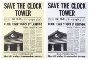 """BACK TO THE FUTURE (1985) - Pair of Yellow and White """"Save The Clock Tower"""" Flyers"""