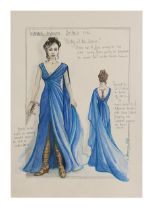 WONDER WOMAN (2017) - BAFTA Collection: Hand-painted Lindy Hemming Costume Design for Wonder Woman's