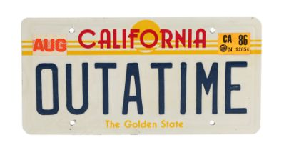 """BACK TO THE FUTURE - THE RIDE - DeLorean """"OUTATIME"""" Licence Plate"""