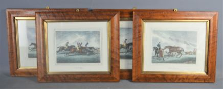 Four 20th century reproduction racing prints, 26cm by 22cm .