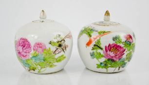 Two 19th century Chinese enamelled ginger jars, depicting birds and flowers, both, 14cm high.