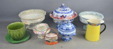 A quantity of Victorian ceramics.