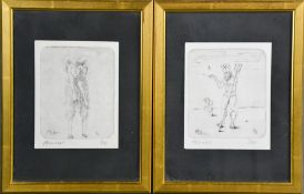 H. Schnabel, two copper plate engravings, Capricorn 5/50 and Aquarius 1/50, both signed in pencil to