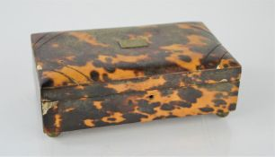 A 19th century tortoiseshell box with a later musical movement inside 13cm x7.5cm x 4.5cm h