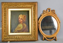 A 19th century oil on canvas depicting portrait of young girl, together with an oval gold painted