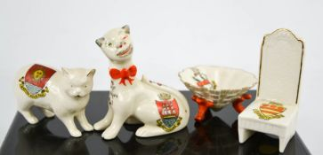 Four examples of Crest-ware, to include Carlton Morecambe Cheshire Cat, Swan China cat, Archadian
