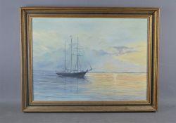 Arthur King (20th century): oil on canvas, maritime scene, 40cm by 55cm
