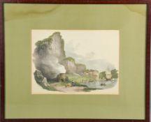 A 19th century hand coloured print, St Vincent's Rock near Bristol, 1821