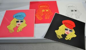 Simon Gross (20th century): Lady Gaga, four silkscreens, limited edition, 60cm by 60cm