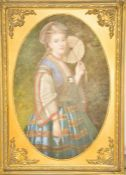A reproduction oil on canvas, portrait of lady with a fan.