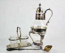 A silver plated and glass coffee carafe on stand, (lacking tea light holder), 37cm high, together
