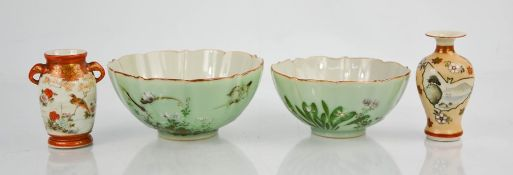 A group of Chinese and Japanese porcelain to include two bowls and two miniature vases 7cm high.
