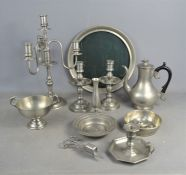 A group of French and English pewter to include James Dixon coffee pot, candelabra, candlesticks,