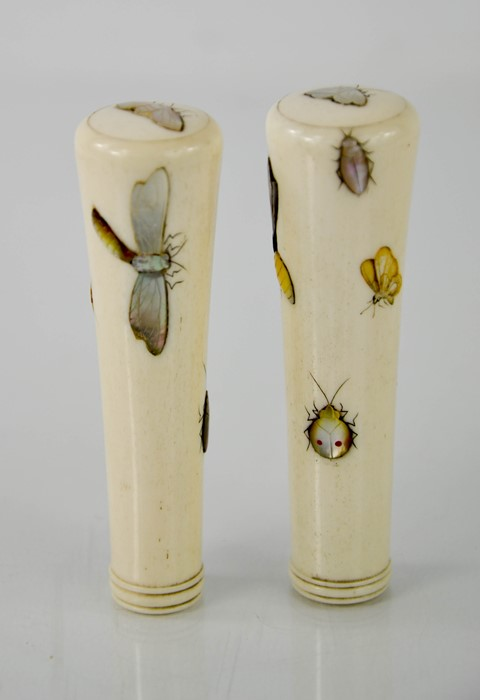A pair of Shibayama 19th century bone and mother of pearl umbrella handles, depicting insects, - Image 2 of 5