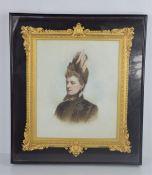 A Kingsbury & Norcutt of Knightsbridge oil on porcelain plaque depicting portrait of a woman. 24cm x