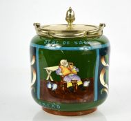 A Foley ware Intarsio pattern biscuit barrel, 'What an Intolerable Deal of Sack, to Such a Pitiful
