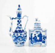 A Chinese blue and white ewer, and jar and cover depicting figures and having a dog of fo finial.