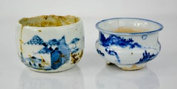 Two blue and white Chinese late 18th / early 19th century pots.
