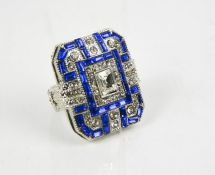 A large square Art Deco style dress ring, size N/O. 24.09g.