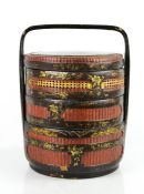 A Chinese early 20th century hand painted wedding basket, the lid depicting figure with deer, 41cm