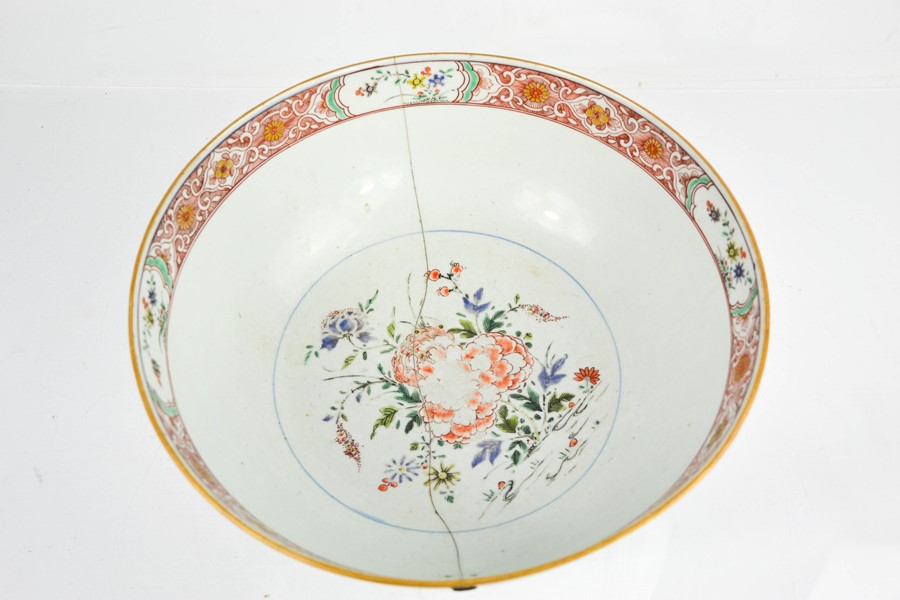 A 19th century Chinese enamelled bowl, depicting floral groups, and having an inner and outer - Image 3 of 3