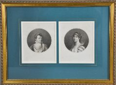 A pair of 19th century portrait roundels of Napoleon and Josephine 16 by 13cm.