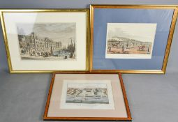 Three 19th century hand coloured prints, 'Wellington reviewing the British Troops in Monmartre', '