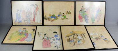 A group of seven Korean figural prints, each bearing red seal mark and measuring 30 by 38cm.