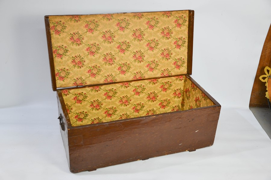 A Chinese wooden painted box, with iron hoop handles, 33 by 89 by 42cm. - Image 2 of 2