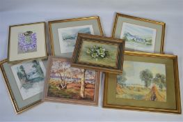 A group of paintings, landscapes and floral