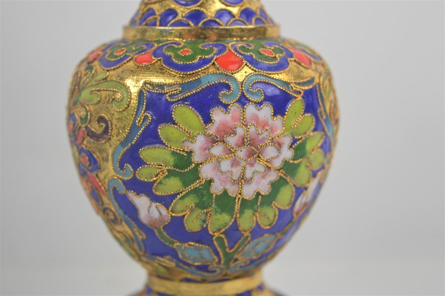 A 20th century Chinese Longquan style celadon cong vase together with a cloisonne vase on stand - Image 3 of 3