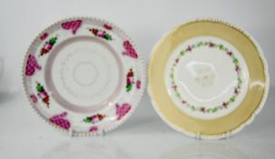 A 19th century Russian dish and plate, the dish; Budy M.S. Zuznetsova 1882, 22cm diameter.