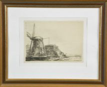 A late 19th / early 20th century copper engraving, windmill in landscape, Rembrandt 1641, 16 by