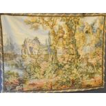 A French tapestry panel depicting a house in wooded landscape with cherub fountain to the fore.