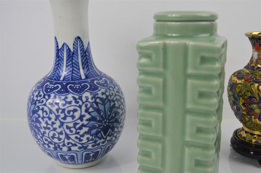 A 20th century Chinese Longquan style celadon cong vase together with a cloisonne vase on stand - Image 2 of 3