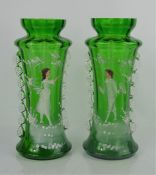 A pair of bohemian glass vases, hand painted with enamelled figures.27.5cm