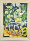 Lloyd Sutton, acrylic on canvas, depicting a bee collecting pollen, signed lower right, 60 by 42cm.