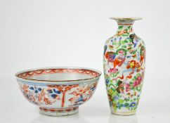 A 19th century Chinese Famille Rose baluster vase, enamelled with lions, butterflies and flowers,